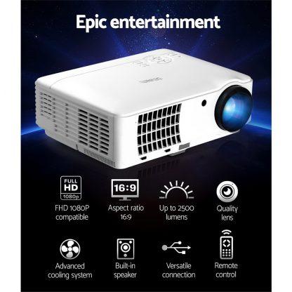 Devanti Mini Video Projector Portable HD 1080P 2500 Lumens Home Theater USB VGA