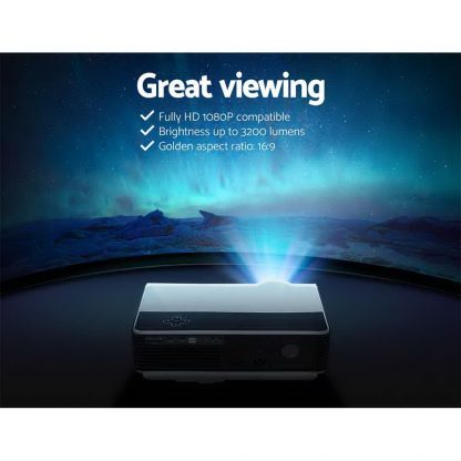 Devanti Mini Video Projector Portable HD 1080P 3200 Lumens Home USB VGA HDMI