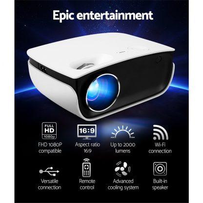 Devanti Mini Video Projector Wifi USB HDMI Portable 2000 Lumens HD 1080P Home Theater White