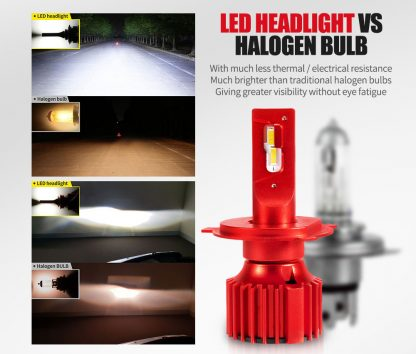 H4 LED Headlight Kit 50W 8000LM Globe Bulbs White High/Low Beam