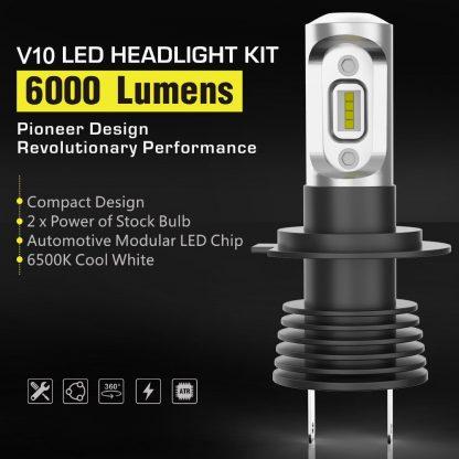 Pair LED Headlight Kit Driving Lamp H7 High Low Beam Globe bulbs upgrade deisgn