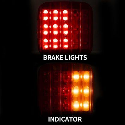 PAIR LED TAIL LIGHT With NUMBER PLATE LIGHT 28LED TRAILER TRUCK CARAVAN SQUARE 12V