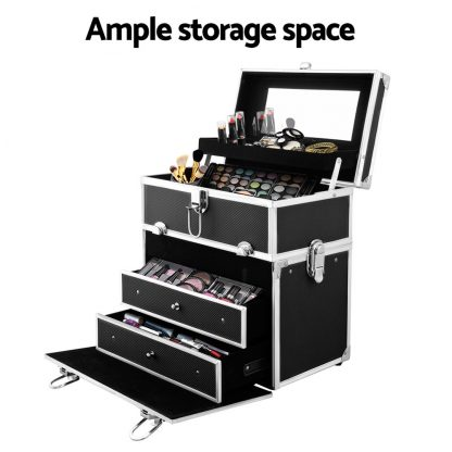 Embellir Portable Cosmetic Beauty Makeup Carry Case with Mirror - Black