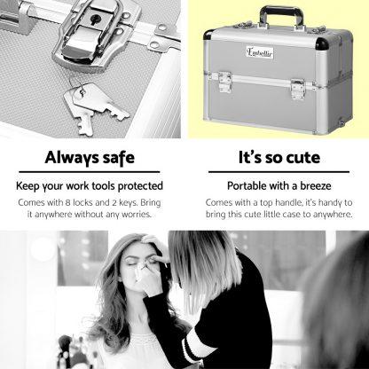 Embellir 7 in 1 Portable Cosmetic Beauty Makeup Trolley - Silver