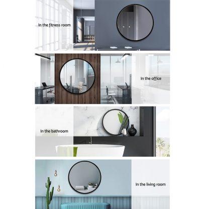 Embellir Round Wall Mirror 70cm Makeup Bathroom Mirror Frameless